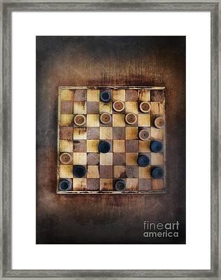 Vintage Checkers Game Framed Print by Jill Battaglia