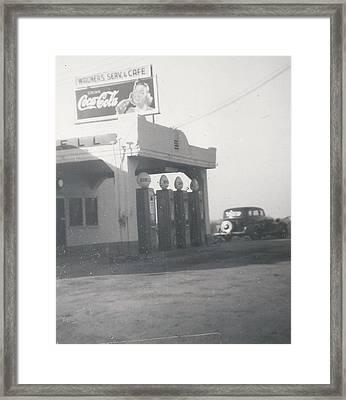 Vintage Coca Cola And Gas Framed Print by Alan Espasandin