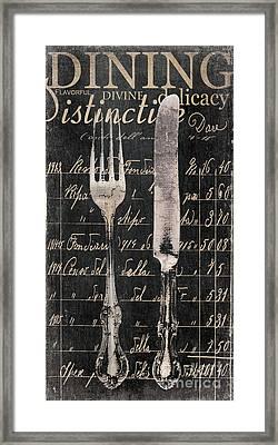 Vintage Dining Utensils In Black  Framed Print by Grace Pullen