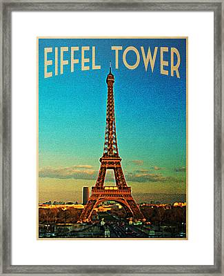 Vintage Eiffel Tower Framed Print by Flo Karp