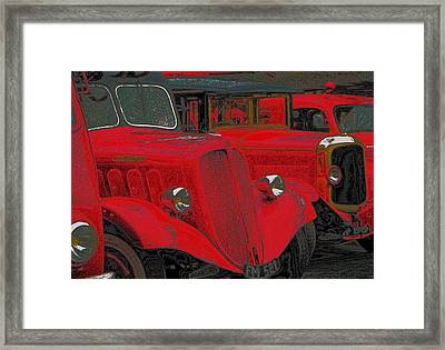 Vintage Fire Truck Techno Art Framed Print by Tony Grider