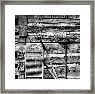 Vintage Garden Tools Bw Framed Print by Linda Phelps