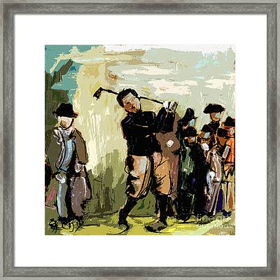 Vintage Golfer And Spectators Framed Print by Ginette Callaway