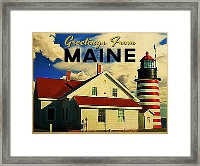 Vintage Maine Lighthouse Framed Print by Flo Karp