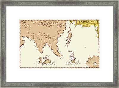 Vintage Map Treasure Island Tall Ship Whale Framed Print by Aloysius Patrimonio