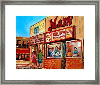 Vintage Montreal City Scene Boulevard St. Laurent Framed Print by Carole Spandau
