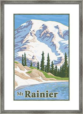 Vintage Mount Rainier Travel Poster Framed Print by Mitch Frey