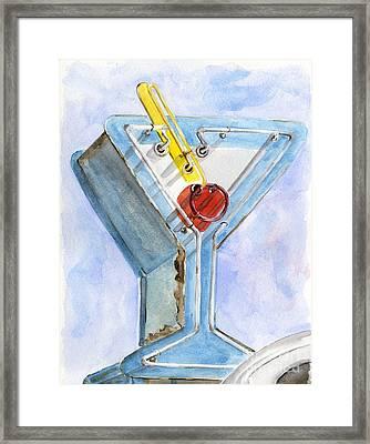 Vintage Neon- Martini Glass Framed Print by Sheryl Heatherly Hawkins