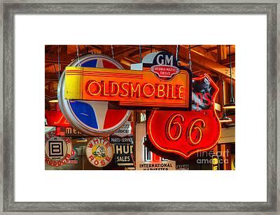 Vintage Neon Sign Oldsmobile Framed Print by Bob Christopher