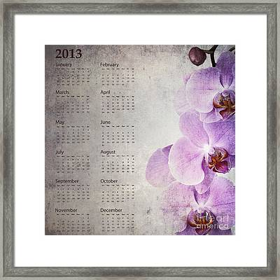 Vintage Orchid Calendar 2013 Framed Print by Jane Rix