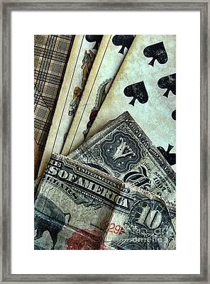 Vintage Playing Cards And Cash Framed Print by Jill Battaglia