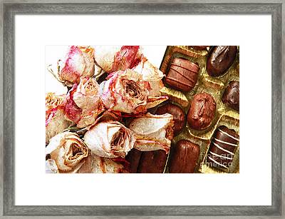 Vintage Roses And Chocolates Painterly Framed Print by Andee Design
