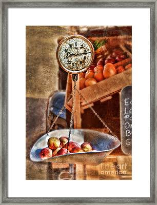 Vintage Scale At Fruitstand Framed Print by Jill Battaglia