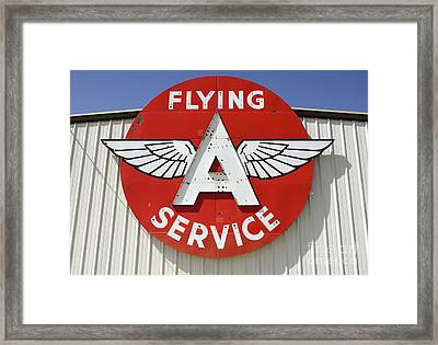 Vintage Sign For Flying A Service Framed Print by Bob Christopher