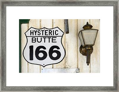Vintage Sign Hysteric Butte 166 Framed Print by Bob Christopher