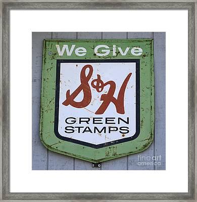 Vintage Sign We Give Green Stamps Framed Print by Bob Christopher