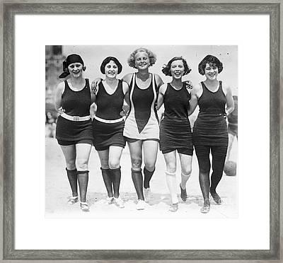 Vintage Swimwear Framed Print by Padre Art