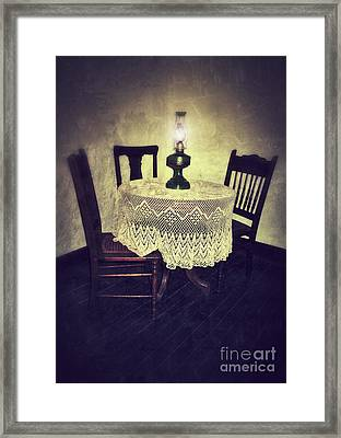 Vintage Table And Chairs By Oil Lamp Light Framed Print by Jill Battaglia