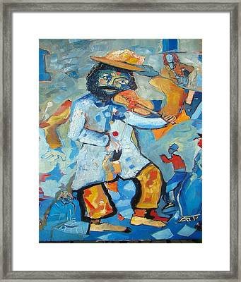 Violinist In Blue Back Framed Print by Milan Nikolcin