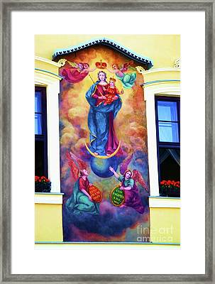 Virgin Mary Mural Framed Print by Mariola Bitner
