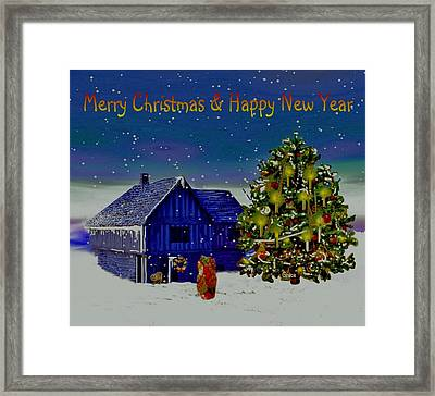 Visit From Santa Christmas Greeting Framed Print by Julie Grace