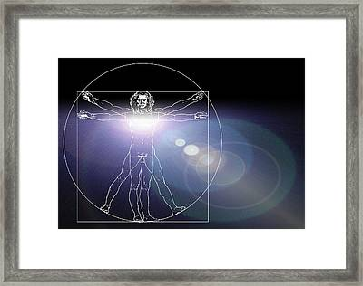 Vitruvian Man With Flare In Chest Framed Print by Laguna Design