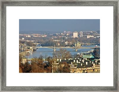 Vltava River In Prague - Tricky Laziness Framed Print by Christine Till