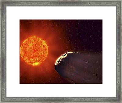 Vulcanoid Asteroid And Sun, Artwork Framed Print by Equinox Graphics