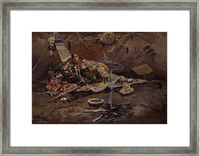 Waiting And Mad Framed Print by Charles Marion Russell