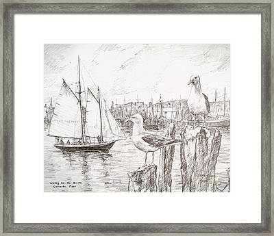 Waiting For The Boats Framed Print by Leslie Cope