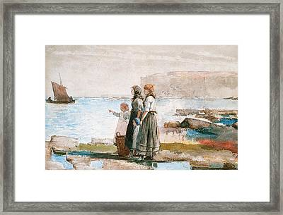 Waiting For The Return Of The Fishing Fleets Framed Print by Winslow Homer