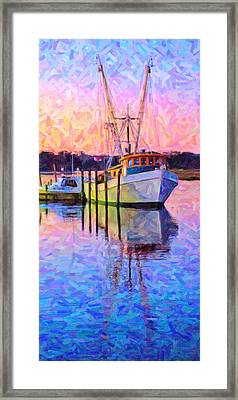 Waiting In The Harbor Framed Print by Betsy C Knapp