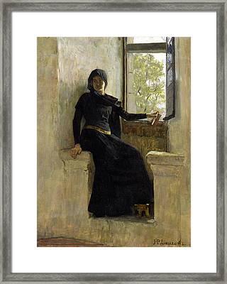Waiting Framed Print by Jean Pierre Laurens