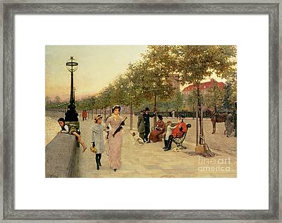 Walk Along The Embankment At Chelsea Framed Print by Frederick Brown