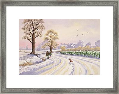 Walk In The Snow Framed Print by Lavinia Hamer