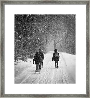 Walk In The Snow Framed Print by Michael Avory