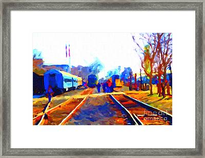 Walking On The Train Tracks In Old Sacramento California . Painterly . Vision 2 Framed Print by Wingsdomain Art and Photography