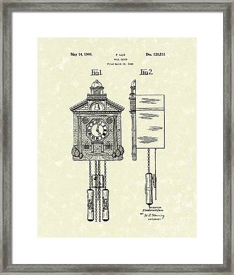 Wall Clock 1940 Patent Art Framed Print by Prior Art Design