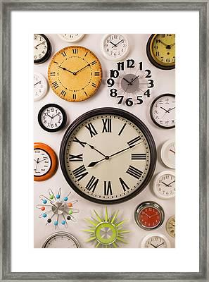 Wall Clocks Framed Print by Garry Gay
