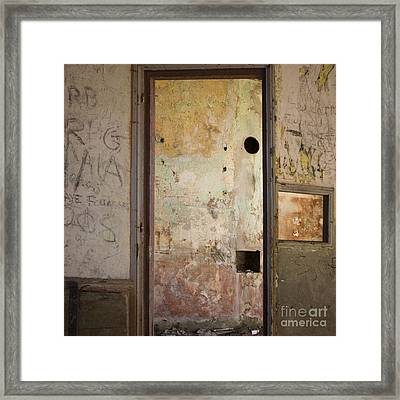 Walls With Graffiti In An Abandoned House. Framed Print by Bernard Jaubert