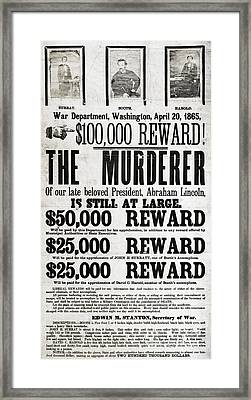 Wanted John Wilkes Booth Framed Print by Photo Researchers