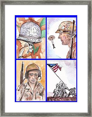 War Watercolor Collage Framed Print by Myrna Migala