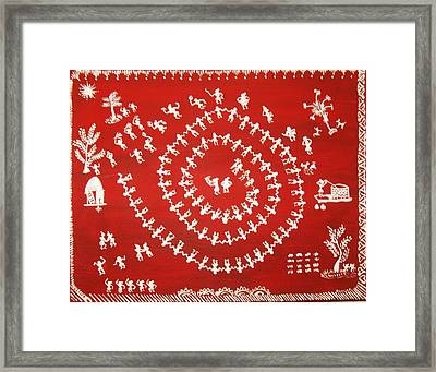 Warli Art Framed Print by Renuka Thoppae