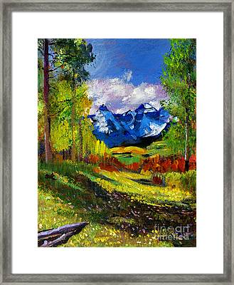 Warm Mountain Valley Plein Air Framed Print by David Lloyd Glover