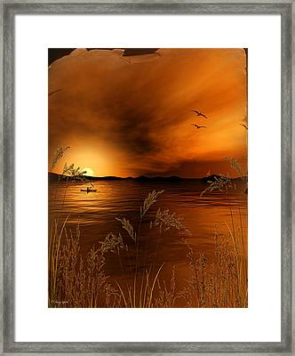 Warmth Ablaze - Gold Art Framed Print by Lourry Legarde