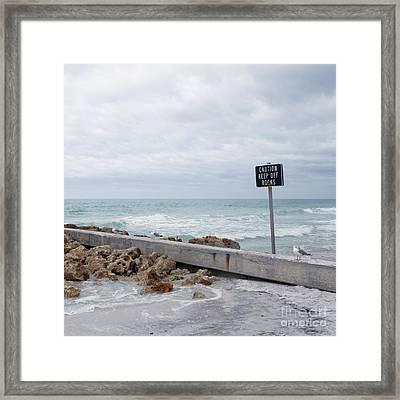 Warning Sign At The Beach Framed Print by Skip Nall