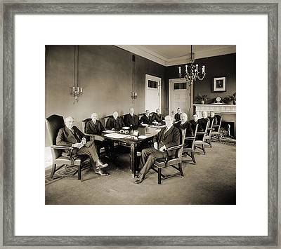 Warren G. Harding S Cabinet In 1921 Framed Print by Everett