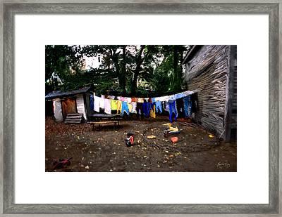 Washday In The Back Yard Framed Print by Wayne King