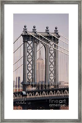 Washington Bridge And Empire State Building Framed Print by Holger Ostwald