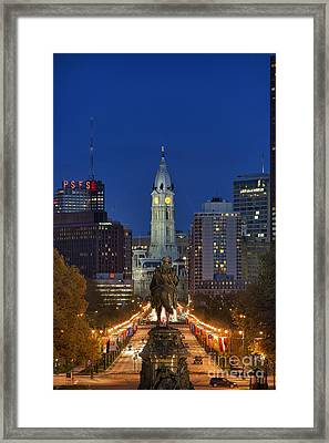 Washington Monument And City Hall Framed Print by John Greim